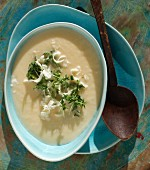 Turnip soup with fresh horseradish