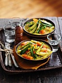 Stew with spring vegetables and coconut milk