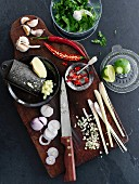 Various ingredients for oriental dishes