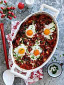 Tomato bake with baked eggs