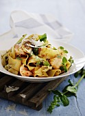 Pappardelle with salmon, tomato pesto, oregano and Parmesan cheese
