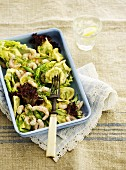 Tortellini salad with prawns, green asparagus, lettuce and dill