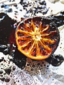 Caramelised grapefruit on aluminium foil