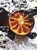 Caramelised grapefruit on aluminium foil