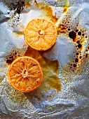 Caramelised grapefruits in aluminium foil