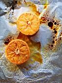 Caramelised grapefruits in aluminium foil