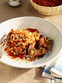 Pappardelle with sausage and tomato sauce