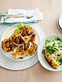 Grilled turmeric chicken with kohlrabi and pineapple