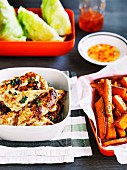Chilli chicken with sweet potato wedges