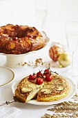 Frittata with cheese, courgette and tomatoes, sliced
