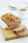 Cherry bread with two slices cut off
