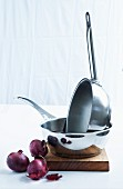 Stainless steel saucepans and red onions