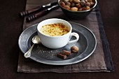 Egg custard pudding with chocolate and nutmeg