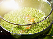 Pea soup in a saucepan