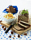 Meat loaf with hazelnuts and a vegetable and apple salad