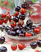 Cherry and cocktail tomato skewers