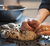 Hands kneading bread dough to make walnut and raisin bread (Italy)