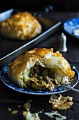 Chicken ragout in filo pastry