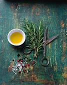 Rosemary, salt, pepper and olive oil