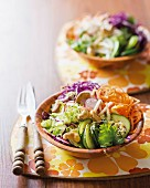 Oriental vegetable salad with a sesame seed and wasabi dressing