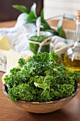 Fresh green kale and green kale pesto