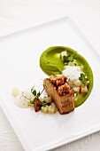 Braised knuckle of veal, glazed sweetbread, peas and kohlrabi