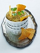 Green salsa with tortilla chips