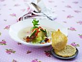Vegetable soup with Parmesan crisps