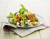 Pasta salad with feta cheese and meatballs