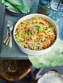 Crunchy cabbage noodle salad with peanut dressing