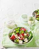 Chicken salad with watermelon and green grapes