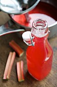 Homemade rhubarb syrup