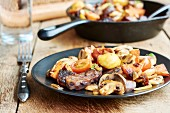 Fried winter vegetables with mushrooms