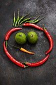 Chilli peppers and limes making a funny face