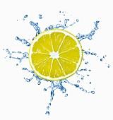 Zitronenscheibe mit Wassersplash