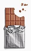 Chocolate bar with bites taken