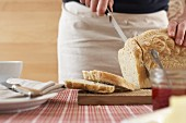 Bread being sliced