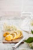Lemon slices and elderflowers