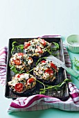 Mushrooms stuffed with goats cheese and tomatoes