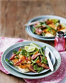 Green bean salad with bacon and halloumi