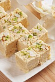 Soan papdi (traditional sweets made with cardamom, India)