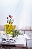 Thyme oil (thyme sprigs in olive oil)