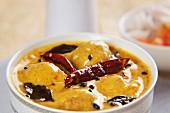 Kadhi chawal (meatball curry, India)