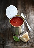 Tomato soup in a tin can