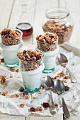 Homemade gluten-free nut muesli with Greek yoghurt and maple syrup