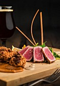 Deep-fried cod fritters and tuna tataki with Japanese dressing and wakame