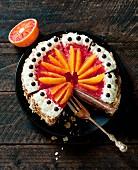 Blood orange cake, sliced