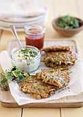 Vegetables cakes with herb quark