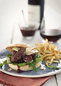 Venison burger with fries