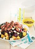 Warm beef salad with potatoes